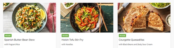 Hello Fresh (meal delivery service) meals