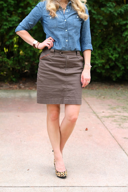 polka dot chambray, khaki skirt, leopard pumps