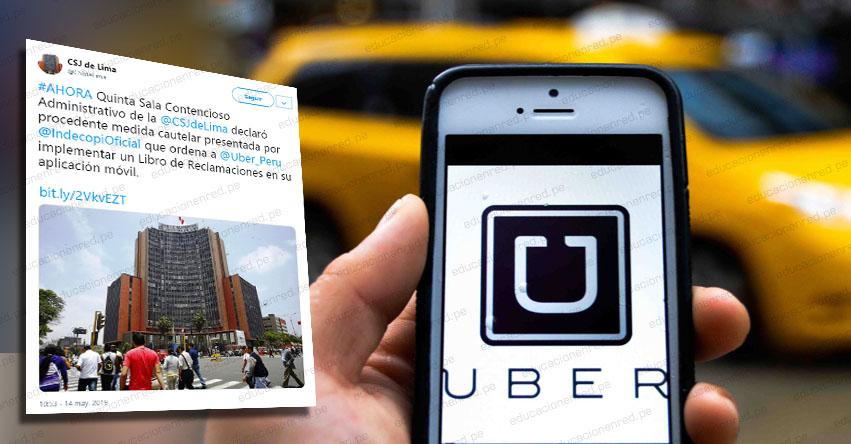 UBER: Taxi por aplicativo implementará Libro de Reclamaciones por orden del Poder Judicial