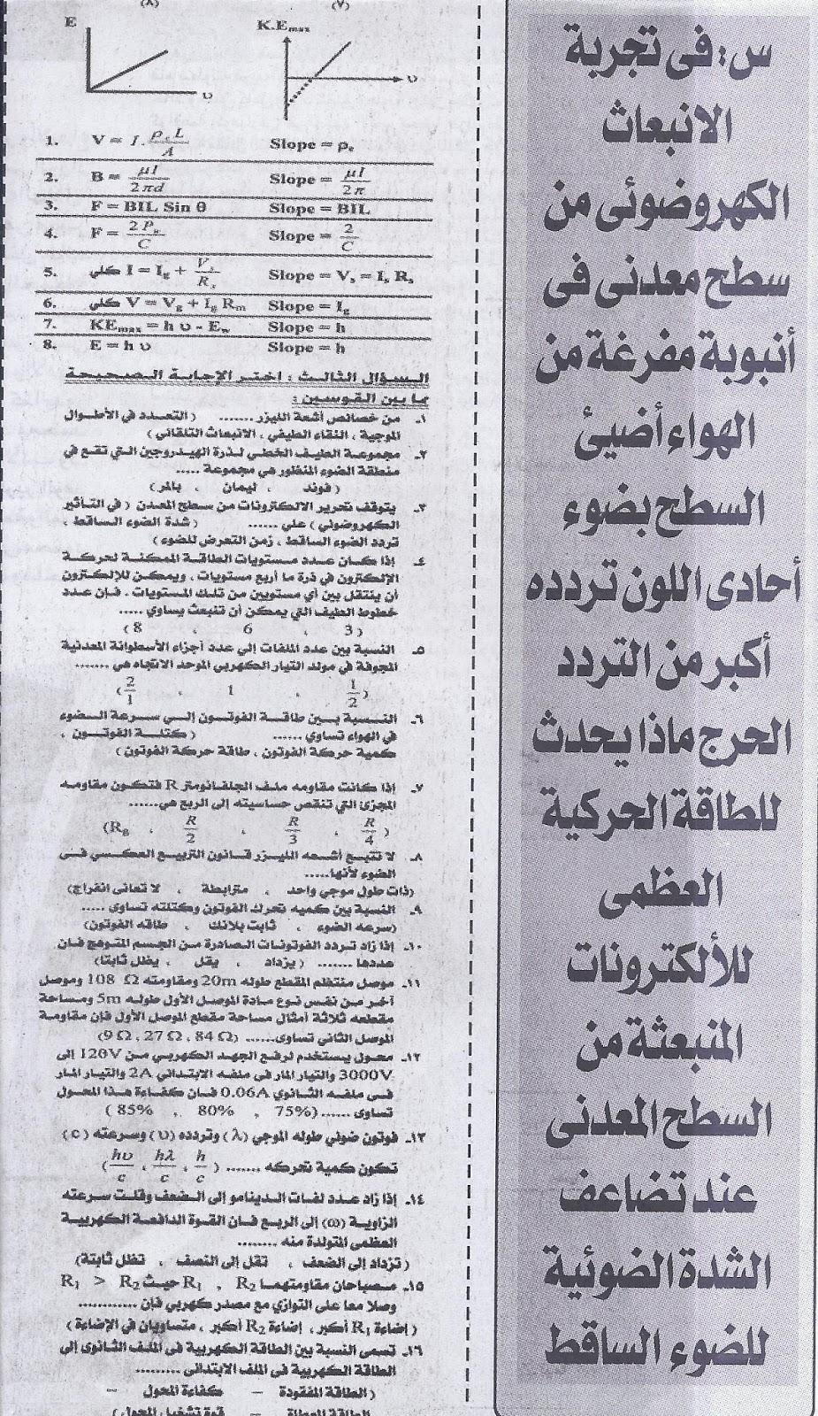 ننشر .. اخر مراجعة لامتحان الفيزياء (عربى ولغات) للثانوية العامة 2016  2