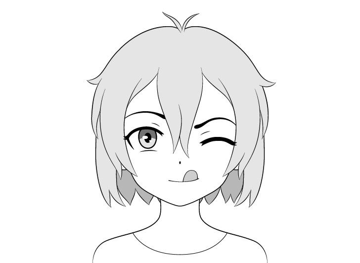 Gadis anime menggambar lidah