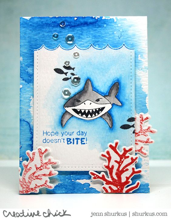 Shark card by Jenn Shurkus | Shark Bites & Tranquil Tides stamp sets by Newton's Nook Designs #newtonsnook