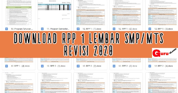 Download Rpp 1 Lembar Kelas 7 8 9 Smp Mts K13 Revisi 2020 Info Pendidikan Terbaru