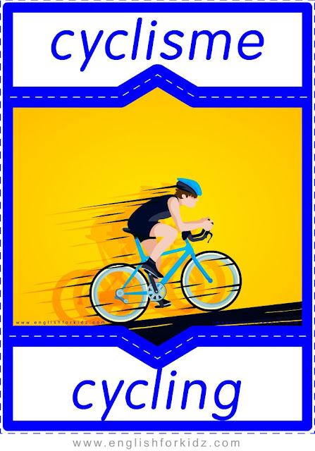cycling in French, cyclisme en anglais, English-French sports flashcards