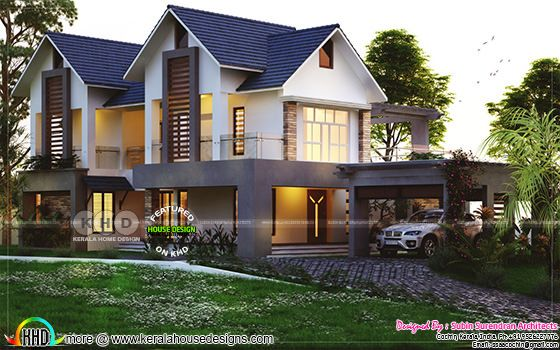 Luxurious sloped roof 4 bedroom house