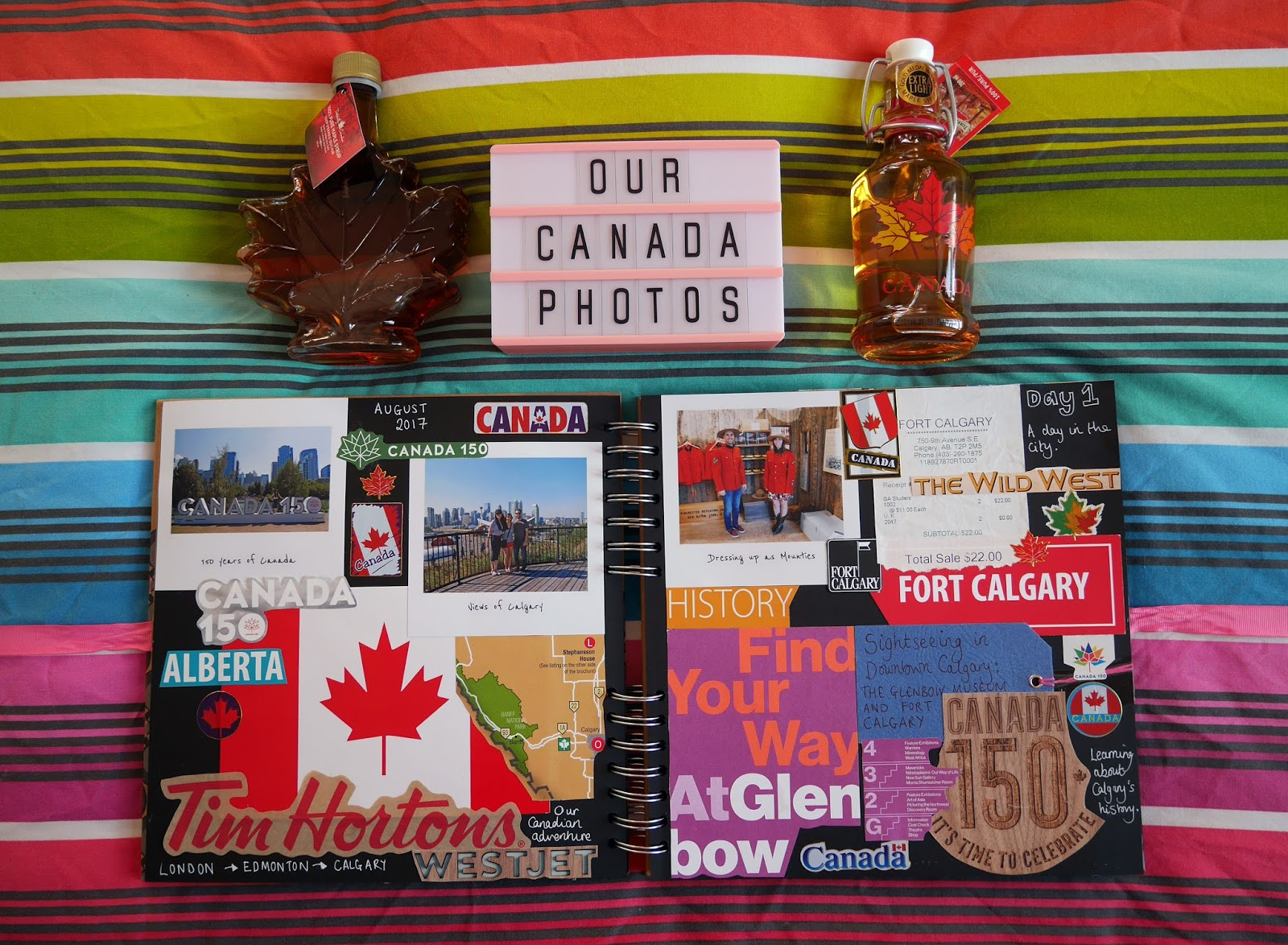 Canada travel scrapbook pages 1-2 (Arriving in Calgary) featuring Printiki's retro prints