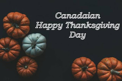 Canadian happy thanksgiving day written on black background image with pumpkin.