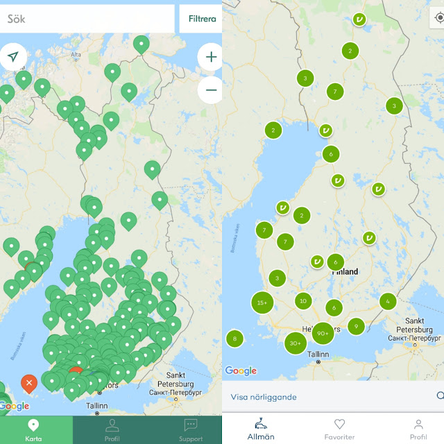 Fortum and Virta charging points in Finland