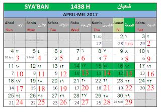 Bulan Sya'ban 1438 H Kalender Islam Bersatu