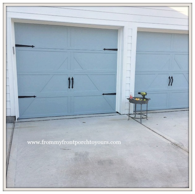 Garage Door Makeover-Detached Garage-Farmhouse-Carriage House Hardware-From My Front Porch To Yours