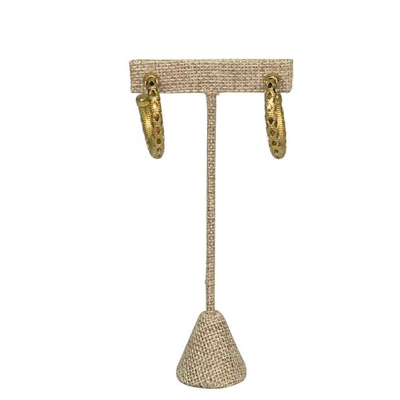 Medium Metal T-Shaped Earring Display Stand, Burlap Linen