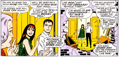 Amazing Spider-Man #55, john romita, peter parker and mary jane watson stand inspecting the hole in aunt may's living room wall