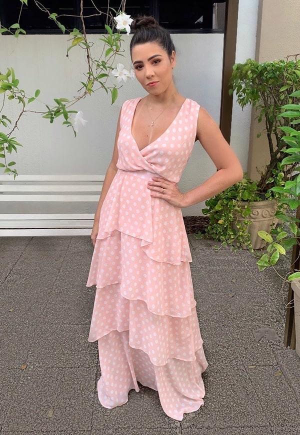 vestido longo rose poa bolinhas