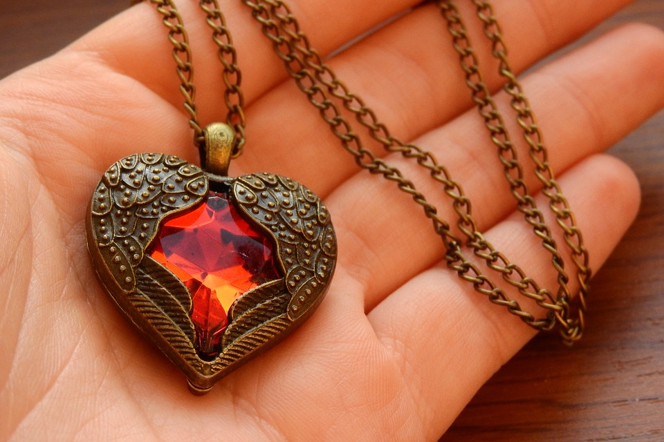 beautiful vintage necklace in a hand