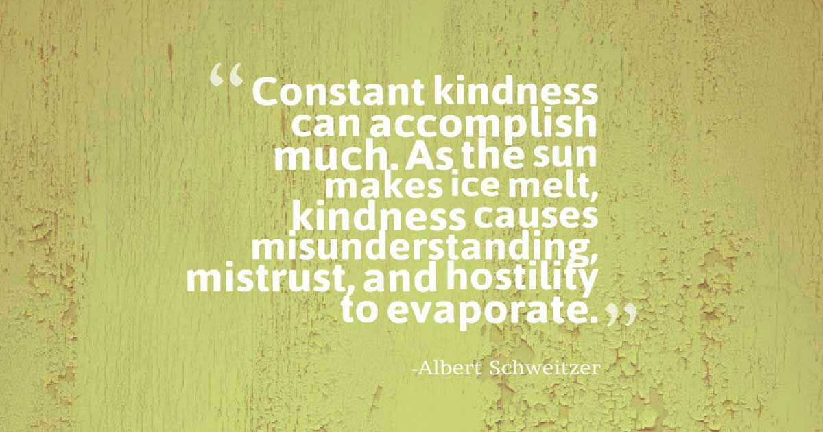"kindness quote: ""Constant kindness can accomplish much. As the sun makes ice melt, kindness causes misunderstanding, mistrust, and hostility to evaporate.""― Albert Schweitzer"