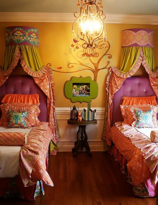 colorful shared kids bedroom+Desain+Keren+Kamar+Tidur+Anak+Dengan+Warna+Putih,+Biru+dan+Coklat