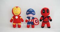 iron man, capitan america y deadpool amigurumi de canal crochet