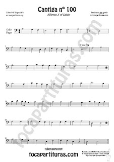 Violonchelo y Fagot Partitura de Cantiga de Amigo Nº 100 de Alfonso X el Sabio Sheet Music for Cello and Bassoon Music Scores