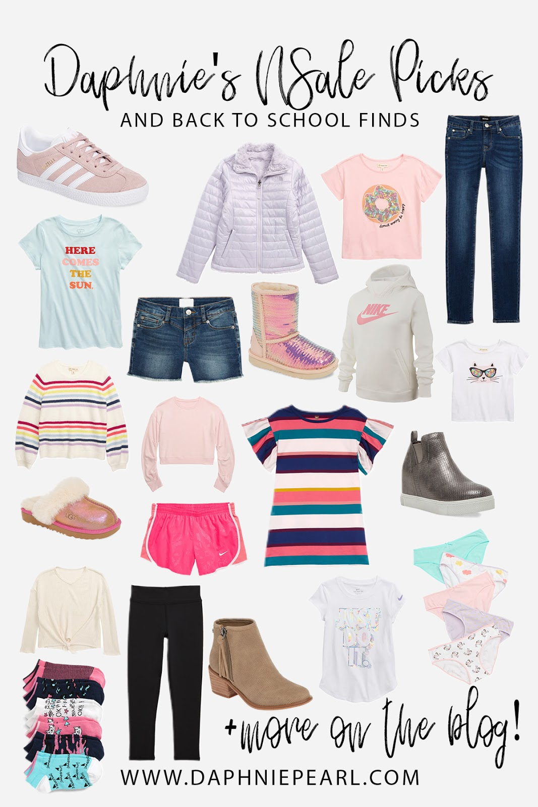 Daphnie's picks and back to school finds from the Nordstrom Anniversary Sale Early Access little girl style tween style inspiration inspo outfit idea outfit ideas shirt shoes shorts denim jeans pants sneakers booties sandals slides ugg boots tshirt tee top sale promotion