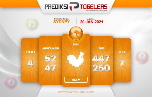 Prediksi Togelers SYDNEY 20 Januari 2021 Hari Rabu