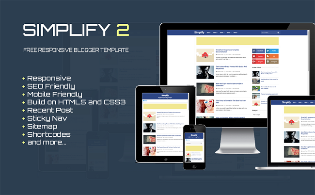 Simplify 2 Responsive Blogger Template Full Version