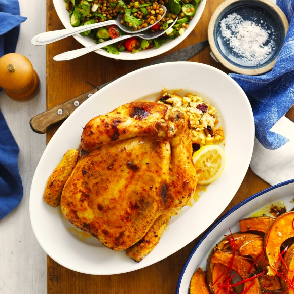 Spiced Butter and Lemon Chicken with Couscous Stuffing