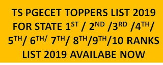TS PGECET Toppers list 2019 for Highest Marks 1st 2nd 3rd 4th 5th 6th 7th 8th 9th 10th Ranks 1