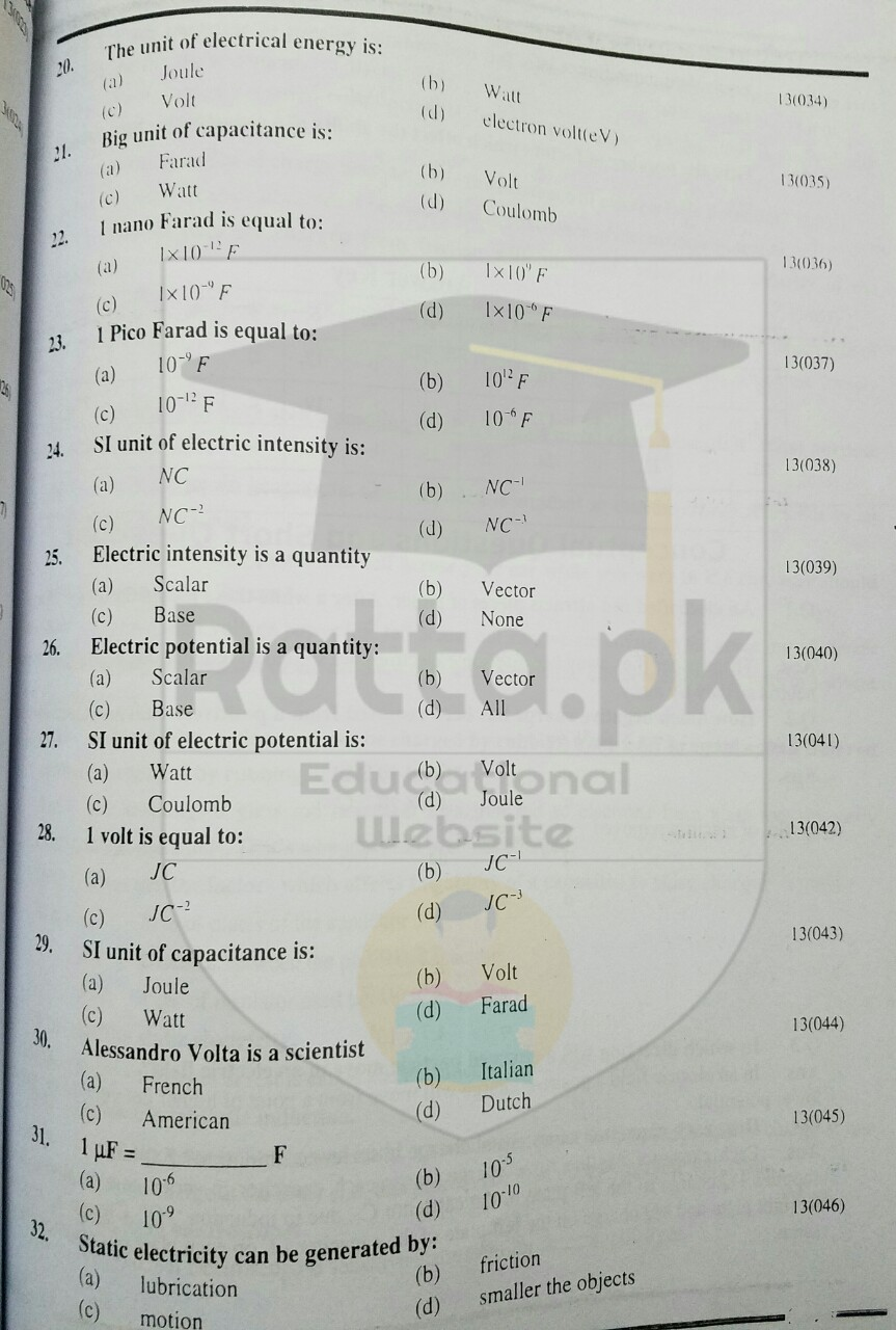 10th Physics Chapter 13 Electrostatics MCQs 3