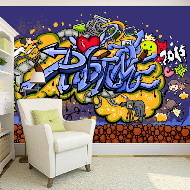 Graffiti wall murals 3D Wallpaper Youth Room