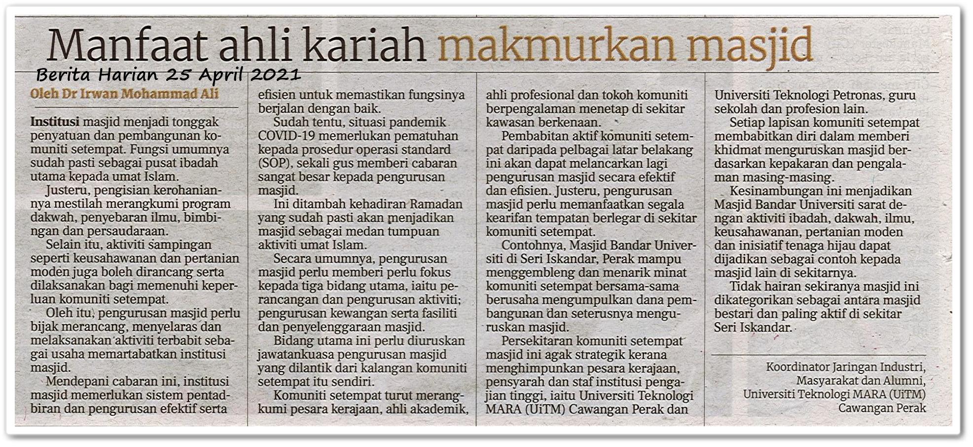Manfaat ahli kariah makmurkan masjid - Keratan akhbar Berita Harian 25 April 2021