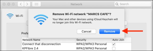 """انقر فوق """"إزالة"""" لإزالة شبكة Wi-Fi من Mac و iCloud Keychain."""