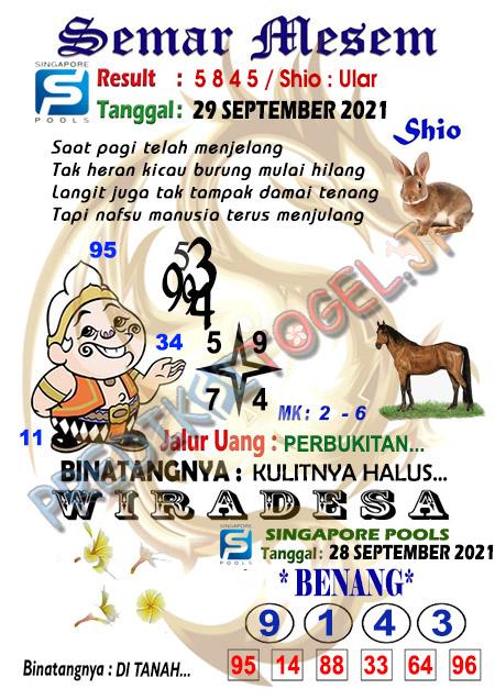 Syair Semar Mesem SGP Rabu 29-September-2021