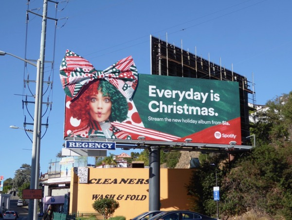 Sia Christmas 3D bow Spotify billboard