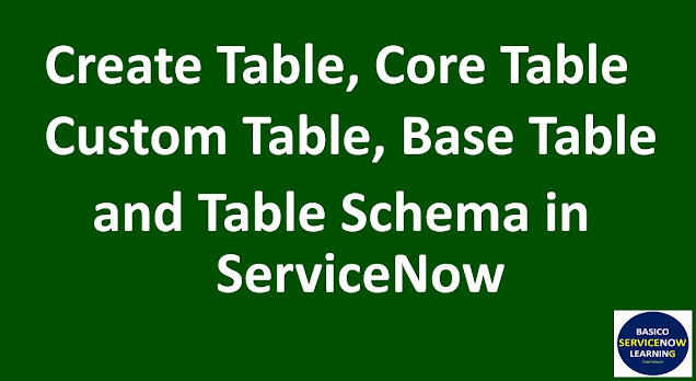 servicenow base table, servicenow core table, servicenow custom table