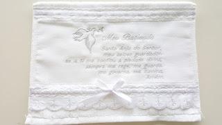 Toalhinha para Batismo Bordado Oração Santo Anjo