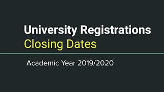 University Registration Closing Dates [Academic Year 2019/20]