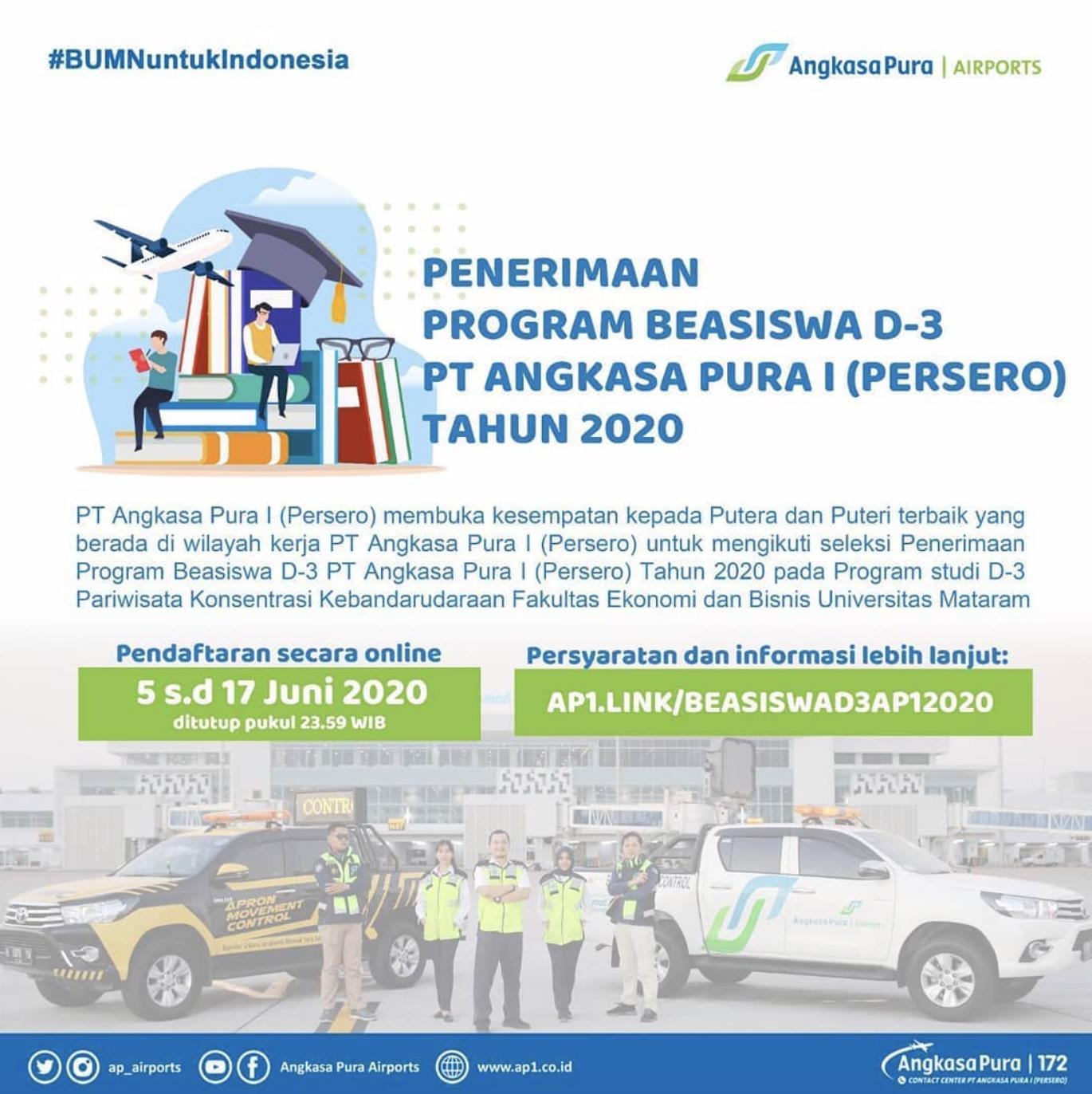 Seleksi Penerimaan Program Beasiswa PT Angkasa Pura I (Persero)