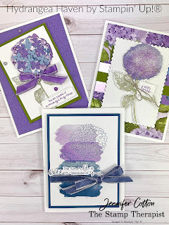 Hydrangea Haven Bundle by Stampin' Up!®.  I made these three cards on my weekly Facebook Live video.  Link to YouTube video on blog, too (and measurements and supply list).  #StampinUp #StampTherapist #HydrangeaHaven