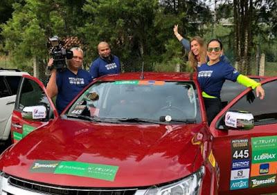 Isabele Benito e a equipe do programa encaram os desafios do rally Mitsubishi – Divulgação/SBT