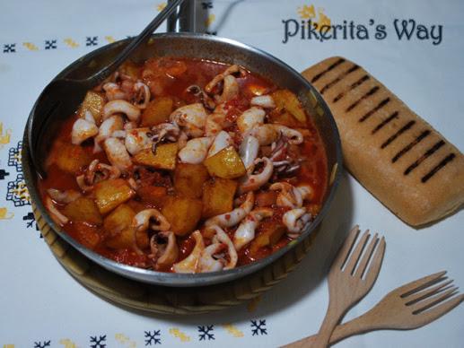 Calamares con sobrasada y patatas