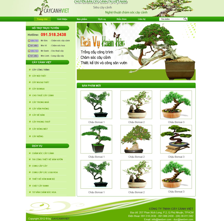 thiết kế web cây cảnh