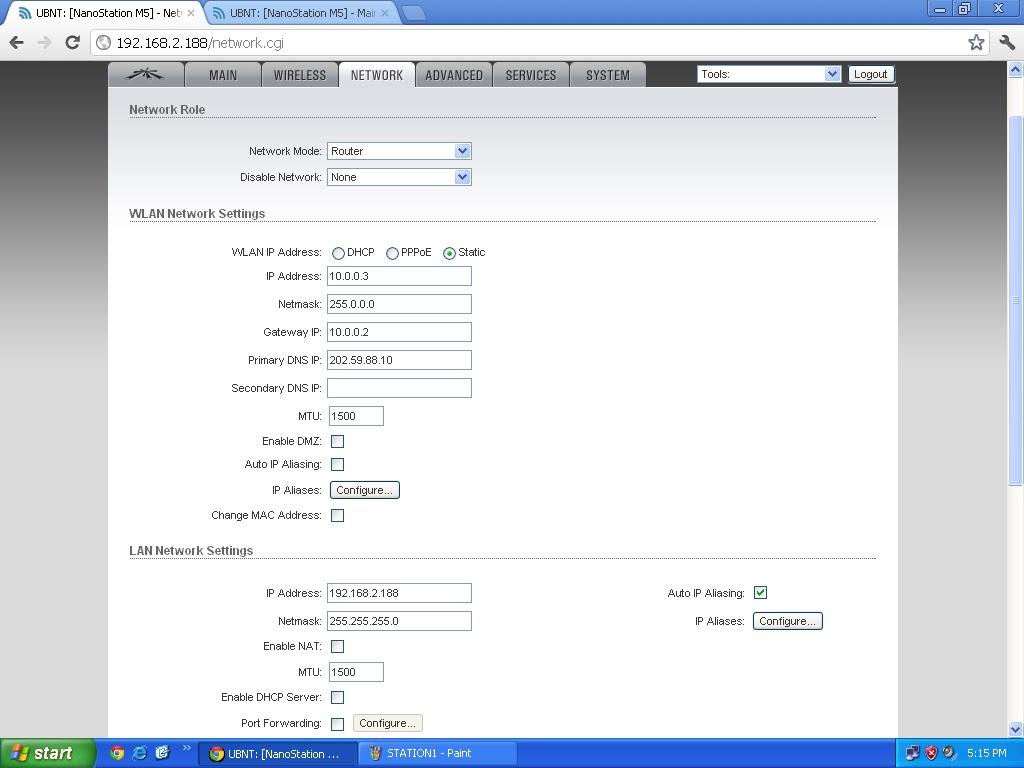 Mega IT Support: ubiquiti nenostation m5 (ubnt) configured