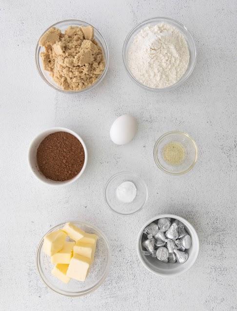 cookie ingredients in bowls.