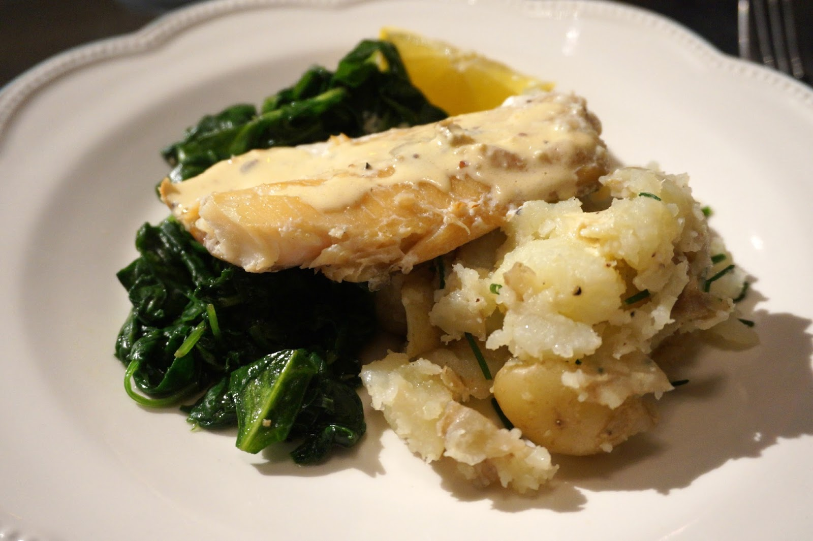 Cod and spinach in bowl