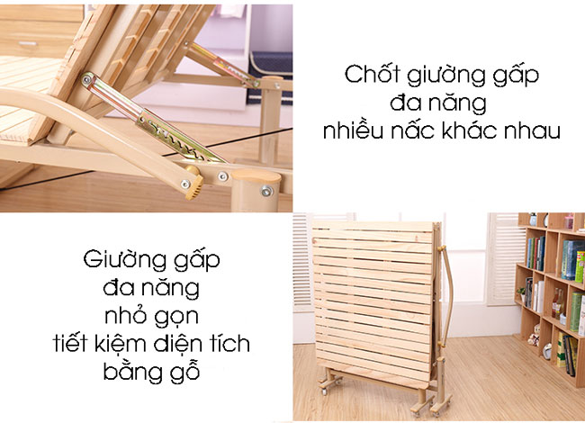 giường gấp bằng gỗ đa năng