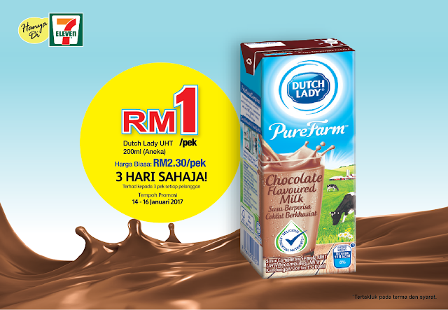 7-Eleven Malaysia Dutch Lady UHT Flavoured Milk RM1 Discount Promo
