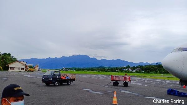 Rendani airport of Manokwari with the view of Arfak mountains