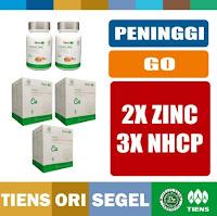 Tianshi PAKET PENINGGI BADAN GO - 2 BOTOL Zinc + 3 BOX Nutrient Calcium NHCP Kalsium Dewasa - TIENS