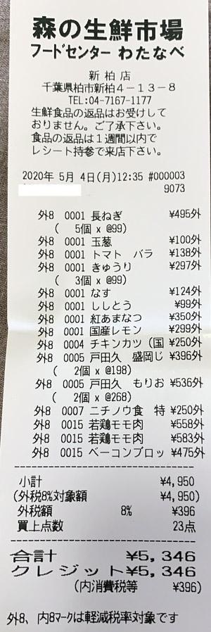 フードセンターわたなべ 新柏店 2020/5/4 のレシート