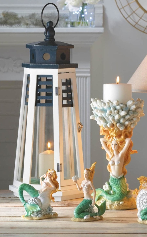 Wood and Metal Lighthouse Candle Lanterns